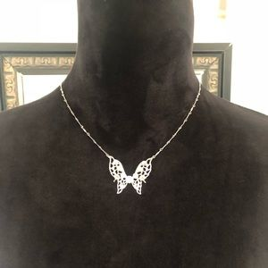 Jewelry - Vintage Black Silver Butterfly Necklace